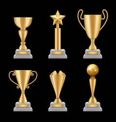 award trophies realistic golden cup sport success vector image