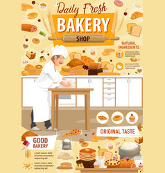 Bakery and patisserie pastry baker vector