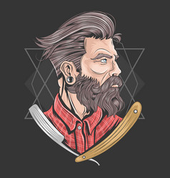 barber man barbershop beard element vector image