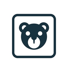 bear toy icon Rounded squares button vector image