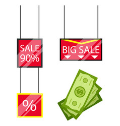 Big sale in stores promotion caption on board vector