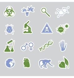 biology stickers set eps10 vector image