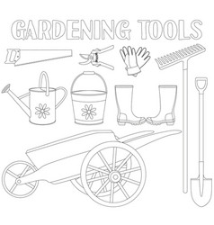black and white garden tool set 9 elements vector image