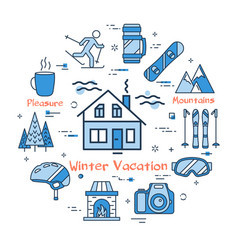 blue winter vacation in mountains concept vector image