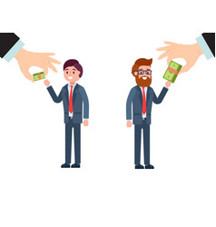 Boss hand give difference salary male character vector