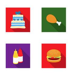 Cake ham sauce burger fast foodset set vector