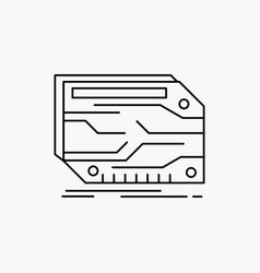 card component custom electronic memory line icon vector image