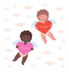 card with two cupids with big hearts vector image