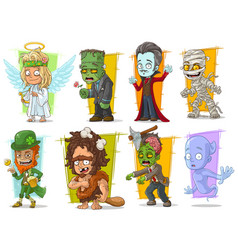 cartoon cool funny monster characters set vector image