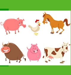 cartoon cute farm animal characters set vector image