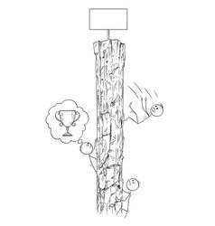 cartoon of men or businessmen climbing the rock vector image