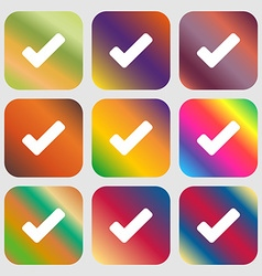 Check mark tik icon Nine buttons with bright vector image