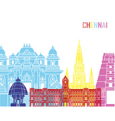 Chennai skyline pop vector