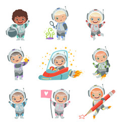 childrens in space kids astronauts funny vector image