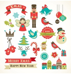 Christmas retro icons elements and vector image