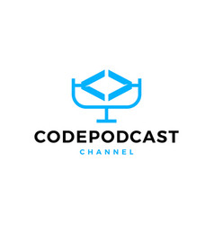 code podcast logo icon for web software coding vector image
