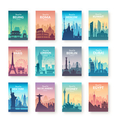 Collection of famous city scapes vector