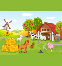 colorful farmyard with animals and fruit orchard vector image
