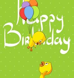 Cute chicks congratulate birthday vector