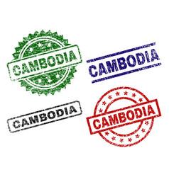 Damaged textured cambodia stamp seals vector