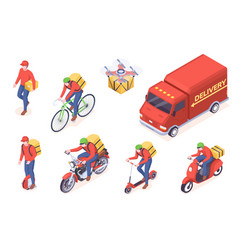 delivery service transport courier isometric icons vector image