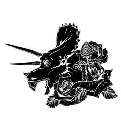 dinosaurus triceratops head black silhouette art vector image