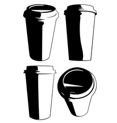 disposable coffee cup set vector image