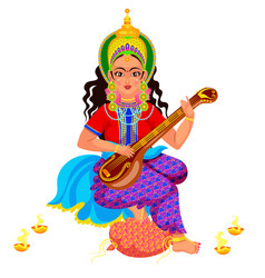 Diwali holiday goddess saraswati with veena vector