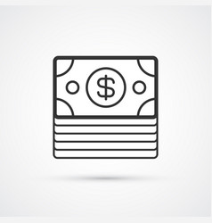 dollars pack flat line black icon eps10 vector image