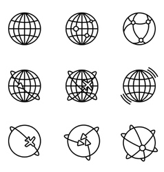 Earth Global Communication icons set vector image