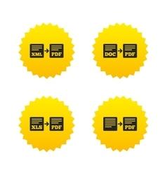 Export file signs Convert DOC to PDF symbols vector