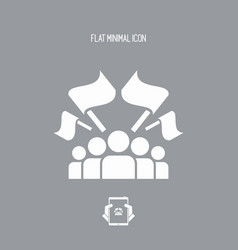 fans crowd - flat minimal icon vector image