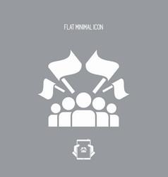Fans crowd - flat minimal icon vector