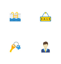 Flat icons trinket swimming sold and other vector