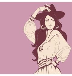 Flower power bohemian hippie chic girl vector image