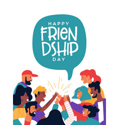 Friendship day poster friends doing high five vector