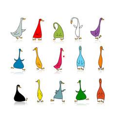 Funny goose set sketch for your design vector