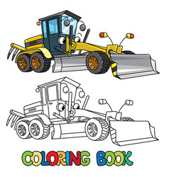 Funny grader car with eyes coloring book vector