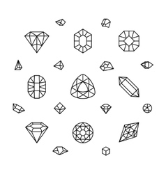 Geometric 3d crystal shapes diamond gems thin vector