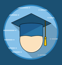 graduation cap icon with long shadow vector image