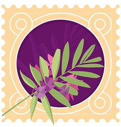 Greeting card with leaves and border vector image