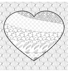 Heart adult coloring page vector