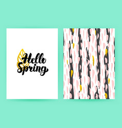 Hello spring 80s style poster vector