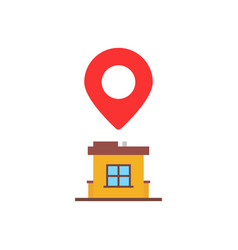 Home location with red pin marker vector