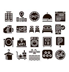Hostel elements sign icons set vector