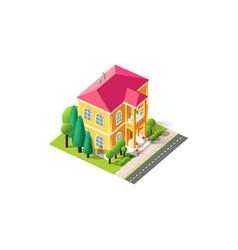 Isometric facade yellow penthouse vector