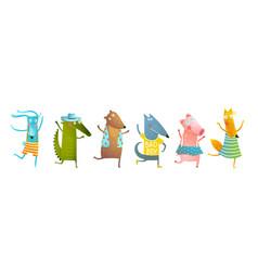 Kids animals dancing party having fun cartoon vector