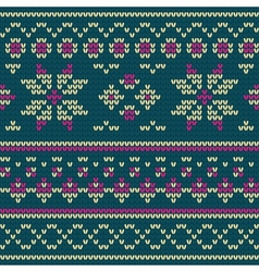 Knitted texture with floral pattern vector