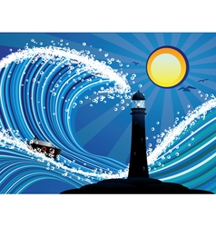 Lighthouse and boat in sea vector