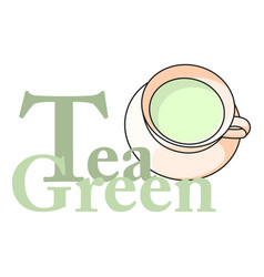logo cup of green tea with the inscription vector image